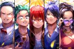 1girl 4boys alternate_costume alternate_hairstyle anezu artist_name black_hair blue_eyes blue_hair boku_no_hero_academia bow breasts cleavage collared_shirt disguise dress facial_hair freckles glasses green_eyes green_hair hair_down hair_over_one_eye horns iida_tenya jacket jewelry kirishima_eijirou looking_at_viewer midoriya_izuku multiple_boys mustache necklace parted_lips red_eyes redhead shirt sunglasses todoroki_shouto yaoyorozu_momo