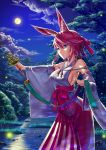 1girl animal_ears arched_back bangs bare_shoulders benghuai_xueyuan blue_eyes breasts clouds detached_sleeves fireflies forest full_moon gotointhepark hair_between_eyes hair_ribbon hakama highres holding honkai_impact japanese_clothes kimono large_breasts miko moon nature night night_sky outdoors pink_hair rabbit_ears ribbon sash short_hair short_kimono sideboob sky smile solo standing tree white_kimono wide_sleeves yae_sakura_(benghuai_xueyuan)