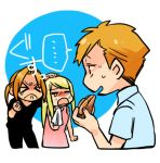 >_< ... 1girl 2boys alphonse_elric apple_pie bangs black_shirt blonde_hair blue_background blue_shirt blush brothers clenched_hand closed_eyes crying d: dress edward_elric eyebrows_visible_through_hair fingernails food fullmetal_alchemist hand_on_another's_head handkerchief happy_tears looking_at_another multiple_boys open_mouth pink_dress ponytail profile shaded_face shirou_(vista) shirt short_hair siblings simple_background speech_bubble sweatdrop tears translated upper_body white_background winry_rockbell
