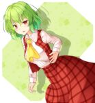 1girl aka_tawashi ascot blush breasts commentary_request dutch_angle eyebrows_visible_through_hair feet_out_of_frame green_background green_hair hair_between_eyes highres kazami_yuuka large_breasts long_sleeves looking_at_viewer open_mouth plaid plaid_skirt plaid_vest red_eyes red_skirt red_vest shadow shirt short_hair skirt solo standing touhou two-tone_background vest white_background white_shirt wing_collar yellow_neckwear