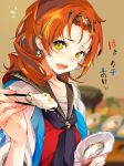 1girl black_sailor_collar blurry blurry_background blush chopsticks commentary_request depth_of_field earrings fang flying_sweatdrops food green_eyes hair_ornament highres holding holding_chopsticks holding_food jewelry long_hair looking_at_viewer miyahama_hitoka multicolored multicolored_eyes neckerchief official_art onsen_musume open_mouth purple_neckwear red_shirt redhead sailor_collar school_uniform serafuku shirt short_sleeves solo souji_hougu sweatdrop tears upper_body yellow_eyes
