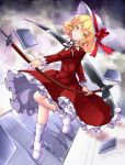1girl aka_tawashi bangs blonde_hair boots bow commentary_request dress elly hat hat_bow hat_ribbon highres holding holding_scythe long_sleeves looking_at_viewer red_bow red_dress red_ribbon ribbon scythe short_hair smile solo touhou touhou_(pc-98) white_footwear white_hat yellow_eyes