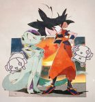 4boys :d black_eyes black_hair boots dougi dragon_ball dragon_ball_(object) dragon_ball_super dragonball_z expressionless flying frieza frown full_body hand_on_hip happy height_difference leaning_forward looking_at_another monochrome multiple_boys open_mouth red_eyes shaded_face shadow short_hair simple_background smile son_gokuu spiky_hair standing suzuka_g sweatdrop tail white_background wristband zen'ou_(dragon_ball)
