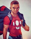 1boy backpack bag belt brown_eyes brown_hair collarbone commentary english_commentary facial_hair fingerless_gloves gloves goatee highres jacket_over_shoulder male_focus mario_(series) muscle photo real_life robert_porter self-portrait smile solo super_mario_bros. super_mushroom