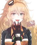 black_gloves blonde_hair cizzi girls_frontline gloves green_eyes hairband jacket long_hair looking_at_viewer open_mouth s.a.t.8_(girls_frontline) sharp_teeth teeth yellow_hairband yellow_jacket