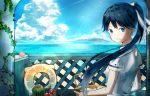 1girl ameharu1995 black_hair blue_eyes blue_sky bowl clouds dress flower food from_behind fruit hair_ribbon houshou_(kantai_collection) kantai_collection lens_flare looking_back ocean open_mouth plant ponytail ribbon shore sky smile solo sunlight upper_body vines watermelon white_dress