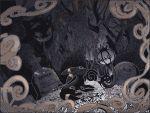 ^_^ awai_(pixiv29777040) bare_tree chandelure closed_eyes creature dark fire flower gen_1_pokemon gen_2_pokemon gen_5_pokemon gengar ghost grave graveyard happy lying no_humans on_stomach outdoors pokemon pokemon_(creature) tree umbreon
