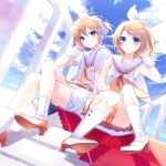 1boy 1girl alternate_color belt blonde_hair blue_eyes blue_sky bow brother_and_sister buttons clouds dutch_angle hair_bow hair_ornament hair_tucking hairclip handrail headphones headset high_heels highres kagamine_len kagamine_rin kashiwaba_en legs_crossed looking_at_viewer miniskirt moon orange_neckwear orange_skirt pale_skin parted_lips pleated_skirt sailor_collar shirt shorts siblings sitting skirt sky socks treble_clef twins vocaloid white_shirt white_shorts wrist_cuffs