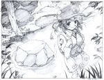 1girl backpack bag black_border border character_request closed_mouth dated graphite_(medium) greyscale hair_bobbles hair_ornament hat long_sleeves looking_at_viewer monochrome outdoors pink_x pouch rock skirt smile solo standing touhou traditional_media tree two_side_up vest