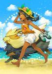 1girl beach dog eudetenis highres pokemon running stoutland tagme