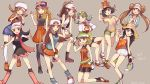 6+girls bandanna bangs bare_shoulders baseball_cap bike_shorts black_footwear black_hair black_legwear black_shirt black_vest blonde_hair blue_(pokemon) blue_eyes blue_hair blue_legwear blue_shirt boots braid brown_eyes brown_hair cabbie_hat closed_mouth collared_shirt cropped_jacket cross-laced_footwear crystal_(pokemon) cutoffs double_bun double_v dual_persona fanny_pack floral_print flower gloves green_shorts grey_background hand_up haruka_(pokemon) hat hat_flower hibiscus hibiscus_print high-waist_skirt hikari_(pokemon) index_finger_raised jacket kneehighs kotone_(pokemon) lace-up_boots long_hair long_sleeves loose_socks mei_(pokemon) miniskirt mizuki_(pokemon) multiple_girls one_eye_closed open_clothes open_jacket open_vest orange_shirt outline over-kneehighs overalls pantyhose pantyhose_under_shorts pink_footwear pink_hat pink_scarf pink_skirt pokemon pokemon_(game) pokemon_bw pokemon_bw2 pokemon_dppt pokemon_emerald pokemon_frlg pokemon_gsc pokemon_hgss pokemon_rse pokemon_sm pokemon_usum pokemon_xy puffy_shorts raglan_sleeves red_shirt red_skirt ririmon scarf serena_(pokemon) shirt shoes short_hair short_sleeves shorts skirt sleeveless sleeveless_shirt sleeves_past_elbows smile swept_bangs t-shirt tank_top thigh-highs tied_shirt touko_(pokemon) twin_braids twintails twitter_username v vest visor_cap white_hat white_jacket white_outline white_shorts wristband yellow_shorts zettai_ryouiki