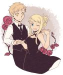 1boy 1girl ;d alphonse_elric bangs bare_arms bare_shoulders black_dress black_pants blonde_hair blue_eyes breasts dress eyebrows_visible_through_hair fingernails floating flower formal fullmetal_alchemist hands_together happy height_difference leaf long_sleeves looking_at_another necktie one_eye_closed open_mouth pants pink_flower pink_rose purple_background rose shirou_(vista) shirt short_hair simple_background sleeveless sleeveless_dress smile standing thorns tied_hair upper_body waistcoat white_background white_shirt winry_rockbell yellow_eyes