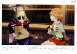 2girls absurdres atelier_(series) atelier_firis blonde_hair closed_eyes dress game_cg green_eyes green_hair hat highres holding holding_instrument instrument jacket jewelry long_hair long_sleeves luis_bester multiple_girls necklace noco_(adamas) official_art scan sitting smile sword tiana_paschen violet_eyes weapon yuugen