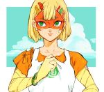1girl arms_(game) artist_request blonde_hair domino_mask facepaint food green_eyes mask min_min_(arms) noodles shirt short_hair sky solo