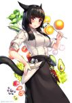 1girl animal_ears aruma_jiki black_apron black_hair blush cat_ears cat_tail chef eyebrows_visible_through_hair facial_mark final_fantasy final_fantasy_xiv food fruit hand_on_hip ladle long_hair looking_at_viewer miqo'te red_eyes short_sleeves smile solo tail