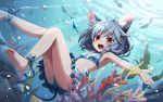 1girl animal_ears ankle_ribbon barefoot bikini blush breasts coral fish grey_hair jewelry kozakura_(dictionary) looking_at_viewer mouse_ears mouse_tail nazrin open_mouth polka_dot polka_dot_bikini polka_dot_swimsuit red_eyes ribbon short_hair small_breasts smile solo swimsuit tail thighs touhou underwater