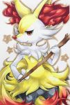 braixen closed_mouth colored_pencil_(medium) cowboy_shot gen_7_pokemon holding_stick looking_at_viewer marker_(medium) no_humans pokemon pokemon_(creature) red_eyes simple_background smile solo soma_somari standing star starry_background traditional_media white_background
