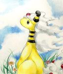 ampharos black_eyes blue_sky closed_mouth clouds cloudy_sky colored_pencil_(medium) creature day flower grass looking_away marker_(medium) mega_ampharos mega_pokemon no_humans outdoors pokemon pokemon_(creature) sky solo soma_somari standing traditional_media white_hair