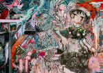 1girl abstract black_hair book building colorful cowboy_shot doremy_sweet dream_soul dress fur_trim hat hito_(nito563) holding holding_book looking_at_viewer multicolored multicolored_clothes multicolored_dress multicolored_eyes nightcap red_hat short_hair sleeveless solo touhou