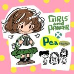 4girls akiyama_yukari backpack bag black_ribbon brown_footwear brown_hair charles_schulz_(style) closed_mouth copyright_name full_body girls_und_panzer green_skirt kadotani_anzu kawashima_momo koyama_yuzu lenny-tree long_sleeves looking_at_viewer monocle multiple_girls neck_ribbon ooarai_school_uniform parody peanuts pink_background ribbon sailor_collar school_uniform serafuku short_hair skirt smile speech_bubble standing style_parody wavy_hair