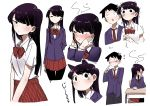 1boy 1girl absurdres animal_ears bangs black_hair black_legwear blazer blush bow cat_ears embarrassed excited flower hair_flower hair_ornament hands_on_own_cheeks hands_on_own_face head_steam highres jacket juralumin komi-san_wa_komyushou_desu komi_shouko long_hair looking_at_viewer looking_away multiple_views no_mouth pantyhose pleated_skirt scared shirt simple_background skirt solo_focus striped striped_bow striped_skirt tadano_hitohito trembling white_background white_shirt