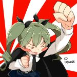 >_< anchovy anzio_school_uniform bangs barashiya belt black_belt black_cape black_neckwear black_ribbon black_skirt blush_stickers cape closed_eyes dress_shirt drill_hair fist_pump foreshortening girls_und_panzer green_hair hair_ribbon long_hair long_sleeves miniskirt necktie open_mouth pleated_skirt raised_fist ribbon rising_sun school_uniform shirt skirt smile standing sunburst twin_drills twintails twitter_username upper_body v-shaped_eyebrows white_shirt wing_collar