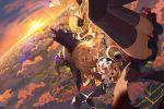 1girl black_legwear black_panties blonde_hair breasts clouds dorothy_(shingeki_no_bahamut) falling frills hair_between_eyes hat highres holding jewelry long_hair looking_at_viewer medium_breasts mr_cloud necklace panties red_eyes shadowverse shingeki_no_bahamut smile solo staff sunrise thigh-highs underwear witch_hat