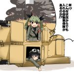 anchovy anzio_military_uniform arm_support bangs barashiya belt black_belt black_hair black_neckwear black_ribbon black_shirt braid brown_eyes carro_veloce_cv-33 closed_eyes commentary drill_hair flag girls_und_panzer goggles goggles_on_headwear green_hair grey_jacket ground_vehicle hair_ribbon helmet highres jacket long_hair looking_at_viewer military military_uniform military_vehicle motor_vehicle necktie open_mouth pepperoni_(girls_und_panzer) red_eyes ribbon sam_browne_belt shirt short_hair side_braid smoke sweatdrop tank translation_request twin_drills twintails uniform v-shaped_eyebrows white_flag