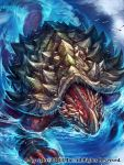 absurdres bird blue_eyes commentary_request dragon extra_eyes highres horn monster official_art partially_submerged seagull seisen_cerberus spikes turtle water watermark z.dk