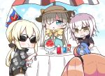 4girls :o absurdres ahoge anastasia_(fate/grand_order) artoria_pendragon_(all) bangs black_scrunchie black_shirt black_shorts blue_cloak blue_eyes blue_sky blush bottle bow brown_hair brown_hat clenched_teeth cloak closed_mouth clouds cloudy_sky commentary_request day eating eyebrows_visible_through_hair fate/apocrypha fate/grand_order fate/stay_night fate_(series) food_print fujimaru_ritsuka_(female) hair_between_eyes hair_ornament hair_over_one_eye hair_scrunchie hat highres holding holding_spoon jako_(jakoo21) jeanne_d'arc_(alter)_(fate) jeanne_d'arc_(fate)_(all) kooribata long_hair multiple_girls one_side_up outdoors parasol parted_lips pineapple_print print_shirt saber_alter scrunchie shaved_ice shirt short_shorts short_sleeves shorts silver_hair sky spoon sun_hat sunglasses sweat table teeth umbrella v-shaped_eyebrows very_long_hair yellow_bow yellow_eyes