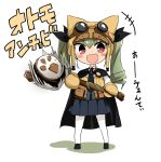 +++ 1girl :d absurdres anchovy animal_hat anzio_school_uniform bangs barashiya black_belt black_cape black_footwear black_neckwear black_ribbon black_skirt blush_stickers brown_hat brown_mittens brown_vest cape cat_hat character_name chibi commentary_request cosplay_request dress_shirt drill_hair emblem eyebrows_visible_through_hat girls_und_panzer goggles goggles_on_headwear green_hair hair_ribbon hat highres holding holding_staff italian long_hair long_sleeves looking_at_viewer miniskirt necktie open_mouth pantyhose partially_translated pleated_skirt red_eyes ribbon school_uniform shadow shirt shoes skirt smile solo staff translation_request twin_drills twintails v-shaped_eyebrows vest white_background white_legwear white_shirt