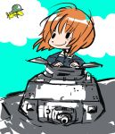 1girl bird blue_sky charles_schulz_(style) closed_eyes clouds day dot_nose girls_und_panzer ground_vehicle helmet lenny-tree light_brown_hair long_sleeves looking_at_another military military_uniform military_vehicle motor_vehicle nishizumi_miho on_vehicle ooarai_military_uniform outdoors parody peanuts short_hair sky smile style_parody tank uniform wind woodstock