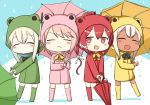 4girls alternate_costume animal_costume bangs boots bow bowtie engiyoshi flower frog_costume i-168_(kantai_collection) i-58_(kantai_collection) kantai_collection multiple_girls open_mouth pink_hair raincoat red_eyes redhead ro-500_(kantai_collection) smile tan u-511_(kantai_collection) umbrella water_drop white_hair