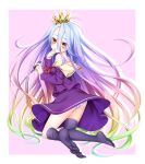 1girl ass bare_shoulders black_legwear blonde_hair blue_hair border brown_eyes chess_piece clenched_hand crown from_behind green_hair hair_between_eyes hand_to_own_mouth holding kneeling long_hair long_sleeves looking_back loose_thighhigh multicolored_hair no_game_no_life no_shoes off_shoulder outside_border panties parted_lips pink_background pink_hair purple_hair purple_shirt purple_skirt school_uniform serafuku shiro_(no_game_no_life) shirt side_ponytail silhouette skirt solo striped striped_panties summer-d_(dodojune) thigh-highs triangle_mouth underwear very_long_hair