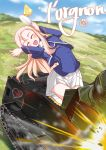 1girl absurdres bc_freedom_(emblem) bc_freedom_military_uniform blonde_hair cake chengcheng2b clouds day emblem food ft-17 girls_und_panzer green_eyes ground_vehicle highres long_hair marie_(girls_und_panzer) military military_vehicle motor_vehicle mountain saucer sky smile spoon tank translation_request