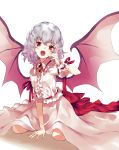 1girl arm_support bangs bat_wings eyebrows_visible_through_hair fangs frilled_shirt frilled_shirt_collar frilled_sleeves frills hand_to_head highres kneeling lavender_hair long_skirt looking_at_viewer nuqura open_mouth puffy_short_sleeves puffy_sleeves red_eyes red_ribbon remilia_scarlet ribbon shirt short_hair short_sleeves simple_background skirt solo touhou white_background white_shirt white_skirt wings wrist_cuffs