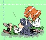 2girls bangs black_hair black_ribbon blunt_bangs brown_footwear cellphone charles_schulz_(style) flip_phone from_side full_body girls_und_panzer green_background green_shirt hair_ornament hairband hands_clasped holding holding_phone knee_up kneehighs lap_pillow leg_up legs_crossed lenny-tree long_hair long_sleeves looking_down lying multiple_girls neck_ribbon ooarai_school_uniform orange_hair own_hands_together parody peanuts phone reizei_mako ribbon school_uniform seiza shadow shirt shoe_soles shoes sitting skirt sleeping socks style_parody takebe_saori thigh-highs tree_shade wavy_hair white_hairband zzz