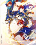 armor blue_eyes bow_(weapon) cape cosplay dual_persona durandal_(fire_emblem) eliwood_(fire_emblem) eliwood_(fire_emblem)_(cosplay) fire fire_emblem fire_emblem:_fuuin_no_tsurugi fire_emblem:_rekka_no_ken fire_emblem_heroes headband highres holding holding_weapon male_focus multiple_boys one_eye_closed open_mouth redhead roy_(fire_emblem) short_hair smile sword weapon yuki_(yukin0128)