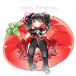 1girl ayumaru_(art_of_life) babymetal bangs black_gloves black_hair black_legwear blush boots cushion eyebrows_visible_through_hair fingerless_gloves gloves happy_birthday long_hair looking_at_viewer mizuno_yui reclining red_skirt simple_background single_glove skirt solo thigh-highs tomato twintails v white_background