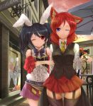 2girls alternate_costume animal_ears black_hair building cat_ears cat_tail detached_sleeves eyebrows_visible_through_hair garter_straps highres holding_arm long_hair looking_at_another love_live! love_live!_school_idol_festival love_live!_school_idol_project multiple_girls neck_ribbon necktie nishikino_maki one_eye_closed orein outdoors pocket_watch rabbit_ears red_eyes redhead ribbon road short_hair skirt smile street tail thigh-highs twintails vest violet_eyes watch yazawa_nico zettai_ryouiki