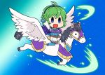 1girl arm_up armor belt belt_pouch blue_eyes blue_gloves boots breastplate cape chibi fingerless_gloves fire_emblem fire_emblem:_rekka_no_ken fire_emblem_heroes flyer_27 gloves green_hair hairband miniskirt nino_(fire_emblem) open_mouth pegasus pegasus_knight pouch riding short_hair shoulder_armor skirt solo thigh-highs thigh_boots white_skirt