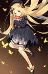 1girl abigail_williams_(fate/grand_order) absurdly_long_hair black_bow black_hat blonde_hair blue_eyes blush bow closed_mouth eyebrows_visible_through_hair fate/grand_order fate_(series) hair_bow hat highres holding holding_stuffed_animal long_hair looking_at_viewer orange_bow solo stuffed_animal stuffed_toy teddy_bear very_long_hair yura_(botyurara)