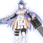 1girl android armpits bare_shoulders blue_hair breasts cleavage commentary_request cyborg elbow_gloves expressionless forehead_protector gloves highleg kos-mos large_breasts leotard long_hair ribonzu solo standing thigh-highs very_long_hair xenosaga
