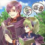 1girl blue_eyes blush book canas_(fire_emblem) cape fire_emblem fire_emblem:_rekka_no_ken fire_emblem_heroes forest gloves green_hair hairband if_oki jaffar_(fire_emblem) multiple_boys nature nino_(fire_emblem) open_mouth pegasus_knight purple_hairband redhead scar short_hair smile