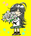 1girl ahoge black_hair bouquet brown_footwear charles_schulz_(style) closed_eyes closed_mouth flower full_body girls_und_panzer green_skirt happy heart isuzu_hana lenny-tree long_hair ooarai_school_uniform parody peanuts school_uniform serafuku shoes skirt smile solo standing style_parody wavy_mouth yellow_background