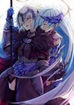 2girls blue_hair blush brynhildr_(fate) chains commentary_request fate/grand_order fate_(series) flag flagpole fur_trim gauntlets hair_over_one_eye headpiece holding holding_flag hug hug_from_behind jeanne_d'arc_(alter)_(fate) jeanne_d'arc_(fate)_(all) long_hair looking_at_another multiple_girls open_mouth thigh-highs very_long_hair white_hair yellow_eyes yude yuri