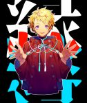 1boy blonde_hair bright_pupils commentary_request copyright_request hands_up jacket long_sleeves looking_at_viewer male_focus parted_lips red_jacket ribbon smile solo upper_body violet_eyes yamakawa