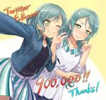 2girls ;) aqua_hair bang_dream! belt black_shirt blouse blush commentary_request denim denim_jacket embarrassed eyebrows_visible_through_hair followers green_eyes hand_on_own_elbow hikawa_hina hikawa_sayo lace_sleeves long_hair long_sleeves looking_at_viewer medium_hair multiple_girls nose_blush official_art one_eye_closed playing_with_own_hair self_shot shirt siblings side_braids sisters skirt smile striped twins v-shaped_eyebrows vertical-striped_skirt vertical_stripes w white_blouse