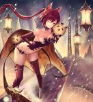 1girl ;d armored_boots bangs bent_over boots breastplate breasts cerberus_(shingeki_no_bahamut) choker cleavage collarbone elbow_gloves eyebrows_visible_through_hair floating_hair gloves grin hair_between_eyes hand_on_hip highres long_hair medium_breasts midriff navel nekobell night one_eye_closed open_mouth outdoors panties ponytail red_eyes red_gloves red_legwear red_panties redhead shingeki_no_bahamut shiny shiny_clothes sideboob smile solo standing stomach strapless thigh-highs underwear very_long_hair