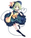 1girl black_footwear black_frills black_hat black_legwear black_ribbon blush bow breasts collared_shirt eyeball floral_print frilled_shirt_collar frills full_body green_eyes green_hair green_skirt hand_to_own_mouth hat hat_bow hat_ribbon heart heart_of_string highres kisaragi_yuri kneehighs komeiji_koishi legs long_sleeves looking_at_viewer ribbon shirt siblings simple_background skirt small_breasts smile solo string thighs third_eye touhou white_background wide_sleeves yellow_bow yellow_ribbon yellow_shirt